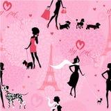 Naadloos patroon met zwarte silhouetten van modieuze meisjes Royalty-vrije Stock Fotografie