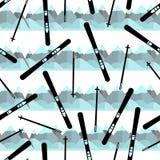 Naadloos patroon met zwarte skis en kleurrijke bergen stock illustratie