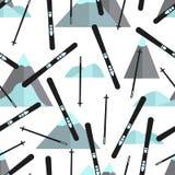 Naadloos patroon met zwarte skis en kleurrijke bergen vector illustratie