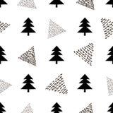Naadloos patroon met zwarte spar en driehoeken op witte backg stock illustratie