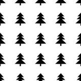 Naadloos patroon met zwarte sparren op de witte achtergrond vector illustratie