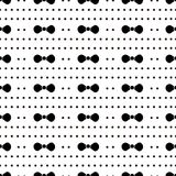 Naadloos patroon met zwarte vlinderdas en cirkels op witte bac Royalty-vrije Stock Foto's