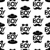 Naadloos patroon met zwarte woordenjongen, hoed, band en snor Stock Fotografie