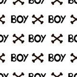 Naadloos patroon met zwarte woordjongen en beenderen Royalty-vrije Stock Foto