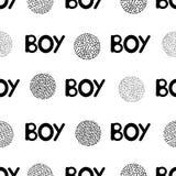 Naadloos patroon met zwarte woordjongen en cirkels Stock Afbeeldingen