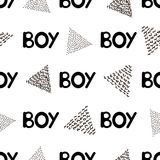 Naadloos patroon met zwarte woordjongen en driehoeken Stock Afbeeldingen
