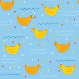 Naadloos patroon met zwemmende eenden Stock Foto