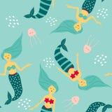 Naadloos patroon met zwemmende meermin stock illustratie