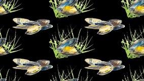 Naadloos patroon oester Hand getrokken illustratie vector illustratie