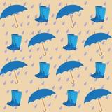 Naadloos patroon op de achtergrond van de paraplu's van regendalingen Royalty-vrije Stock Afbeelding