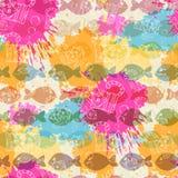 Naadloos patroon op de achtergrond van kleurrijk Royalty-vrije Stock Afbeelding
