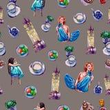 Naadloos patroon op een thema van Londen op een grijze achtergrond stock illustratie