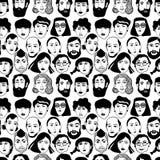 Naadloos patroon op een witte achtergrond met portretten van verschillende mensen Stock Foto