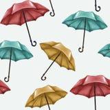 Naadloos patroon op een witte achtergrond Multicolored paraplu's Blauw, rood en geel weer vector illustratie