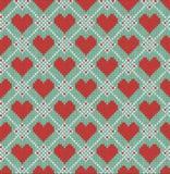 Naadloos patroon op het thema van de Dag van Valentine met een beeld van de Noorse patronen en de harten Gebreide wol Royalty-vrije Stock Foto's