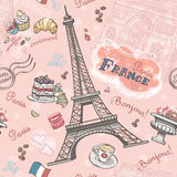 Naadloos patroon op Parijs van de romantische elementen Stock Foto's