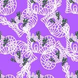 Naadloos patroon op violette achtergrond Stock Foto's