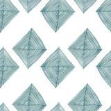 Naadloos patroon op witte achtergrond met abstracte groene ruiten Stock Fotografie