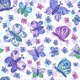 Naadloos patroon in pastelkleuren met mooie en kleurrijke bu stock illustratie