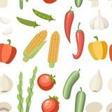 Naadloos patroon Plantaardig inzamelingspictogram Reeks van peper, knoflook, graan, groene erwt en enz. Landbouw en het ontwerp v vector illustratie
