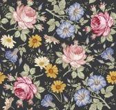 Naadloos patroon Realistische geïsoleerde bloemen Uitstekende achtergrond Wildflowers die van kamillerose petunia gravurevector t Stock Foto's