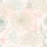 Naadloos patroon in retro stijl met bloemen Stock Afbeelding