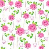 Naadloos patroon Roze bloemen, rozen en harten Geschikt als behang, als gift het verpakken voor de Dag van Valentine Creeert een  royalty-vrije illustratie