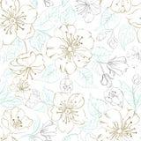 Naadloos patroon scatch van de lentesakura Stock Afbeelding