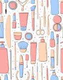 Naadloos patroon Schoonheidszaal Schoonheidsmiddelen en nadruk Makeup Pastelkleur roze en blauwe kleur Zachte achtergrond voor me stock illustratie