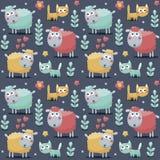 Naadloos patroon sheeps, katten, bloemen, dieren, planten, harten Royalty-vrije Stock Afbeeldingen