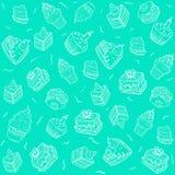 Naadloos patroon - silhouettencakes op muntachtergrond Royalty-vrije Stock Afbeelding