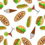 Naadloos patroon - Snel voedsel Vector Royalty-vrije Stock Foto's