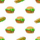 Naadloos patroon - Snel voedsel Vector Stock Foto