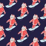 Naadloos patroon snowboarder2 royalty-vrije stock afbeeldingen