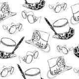 Naadloos patroon Steampunk met van het steampunkhoge zijden en messing beschermende brillen vector illustratie