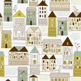 Naadloos patroon, stedelijk landschap Stock Afbeelding