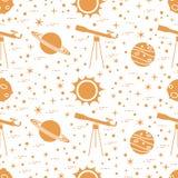 Naadloos patroon Telescoop, zon, planeten, sterren royalty-vrije illustratie