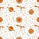 Naadloos patroon Telescoop, zon, planeten, sterren stock illustratie