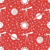 Naadloos patroon Telescoop, zon, planeten, sterren vector illustratie