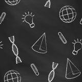 Naadloos patroon terug naar school Vector zwart die bord met wit krijt wordt geschreven Stock Foto