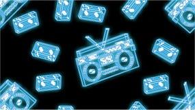 Naadloos patroon, textuur van het mooie abstracte audioregistreertoestel en de cassettes van de neon heldere blauwe gloeiende oud stock illustratie