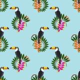Naadloos patroon Tropische bladen, exotische Afrikaanse vogels en stroom Royalty-vrije Stock Afbeeldingen
