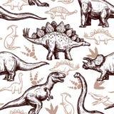 Naadloos patroon twee van dinosaurussenvoetafdrukken kleur vector illustratie