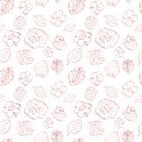 Naadloos patroon van aardbeien en bloemen. Royalty-vrije Stock Afbeelding