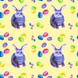 Naadloos patroon van abstract veelkleurig en blauw Konijntje, roze boog en kleurrijke paaseieren ge?soleerde waterverfillustratie vector illustratie