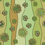 Naadloos patroon van abstracte bloemenpapaver, zonnebloem Grafiek op een waterverfachtergrond, voor het ontwerp van achtergronden royalty-vrije illustratie