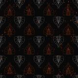 Naadloos patroon van abstracte die cobra's op de muur van de grungesteen worden geschilderd achtergrond met vlamvonken Royalty-vrije Stock Foto