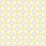 Naadloos patroon van abstracte pastelkleur gele en lilac cirkels op een lichtgele achtergrond voor stoffen, behang, tafelkleden royalty-vrije illustratie