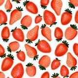 Naadloos patroon van abstracte waterverfhand getrokken mooie aardbeien op witte achtergrond vector illustratie