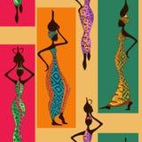 Naadloos patroon van Afrikaanse vrouwen Stock Afbeeldingen